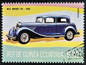 stamp printed in Guinea dedicated to vintage cars shows MG Midget 1934