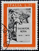 stamp printed in Italy shows Title Page for Book about Salvator Rosa 75th International Fair Verona