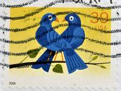 UNITED STATES OF AMERICA - CIRCA 2006: A Stamp printed in USA shows the Birds hearth circa 2006