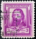 UNITED STATES OF AMERICA - CIRCA 1940: A stamp printed in USA shows portrait of James Russell Lowell