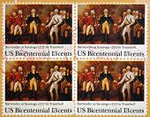 stamp printed in USA shows Painting Surrender of Burgoyne at Saratoga by John Trumbull 1777