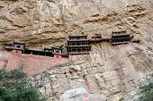 Famous Hanging Monastery In Shanxi Province Near Datong, China, Viewed From Below