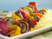 Beef Kabobs With Saffron Rice