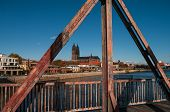 Old Bridge in Magdeburg and view of Cathedral, Germany