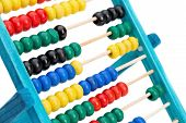 Colorful Abacus For Doing Calculations. On A White Background Close-up.