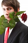 Young Man, Flower, Red Rose Isolated