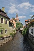 Watermill channel in Cesky Krumlov, Czech Republic
