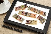 dream, hope, believe, dare, risk, try - a set of motivational and spiritual  words in vintage wood l