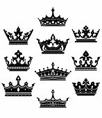 stock photo of crown jewels  - Black crowns set for heraldry design isolated on white background - JPG