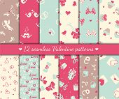 stock photo of cupid  - Twelve valentines day seamless patterns - JPG