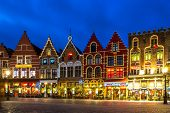 Decorated and illuminated Market square in Bruges, Belgium