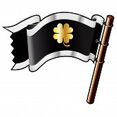 Four Leaf Clover On Pirate Flag