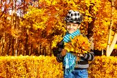 Boy With Maple Leaves Bouquet