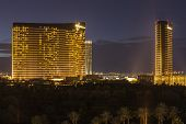 LAS VEGAS, NEVADA - Nov 28:  Dusk view of the Wynn and Encore towers at the upscale Wynn casino resort on the Las Vegas strip. The two towers total 4750 rooms on November 28, 2013 in Las Vegas Nevada.