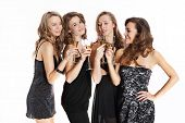Group of sexy young women toasting with champagne