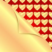 Gold Hearts On A Red Background.backgrou Nd For Valentine Day.gold Bent Corner On The Background Pat