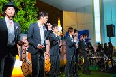 Permanent fish perform in front of Tokyo Tower