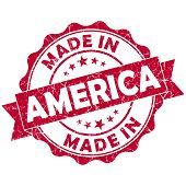 Made In America Red Grunge Seal