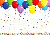Happy birthday background with balloons - vector illustration