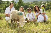 Family feeding animal on the farm