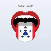 Austral Islands language. Abstract human tongue.