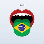 Brazil language. Abstract human tongue.