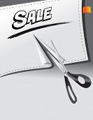 ripped banner paper with sale promotion message