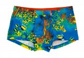 Men's Boxer Shorts With A Colored Pattern Underwater World.