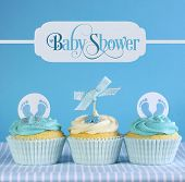 Blue Theme Baby Boy Cupcakes With Greeting Sample Text