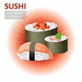 Set of sushi variations over glowing background