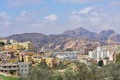 WADI MUSA, JORDAN - MARCH 15, 2014: Cityscape of Wadi Musa. It is the nearest town to the archaeolog