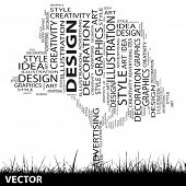 Vector concept or conceptual white abstract art tree and grass shape word cloud isolated on black background