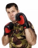 Soldier Training With Boxing Gloves