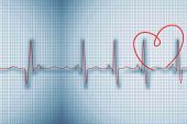 Digitally generated medical background with red ecg line