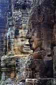 image of mural  - Stone murals and sculptures in Bayon Temple of Angkor Thom. Cambodia ** Note: Soft Focus at 100%, best at smaller sizes - JPG