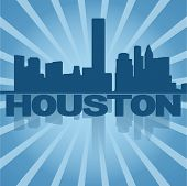 Houston skyline reflected with blue sunburst vector illustration