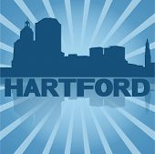 Hartford skyline reflected with blue sunburst vector illustration