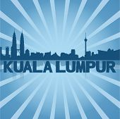 stock photo of kuala lumpur skyline  - Kuala Lumpur skyline reflected with blue sunburst vector illustration - JPG