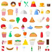 stock photo of continental food  - easy to edit vector illustration of food icons - JPG