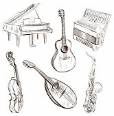 Musical instruments in sketch-style
