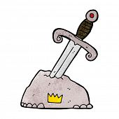 foto of arthurian  - cartoon sword in stone - JPG