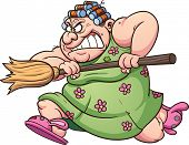 pic of broom  - Fat woman running with a broom - JPG