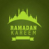 Stylish text Ramadan Kareem and mosque design with blank ribbon on green background. poster, banner or flyer design for holy month of Ramadan Kareem.