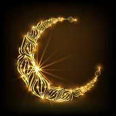 Floral design decorated golden crescent moon on brown background, beautiful greeting card design for muslim community holy month of Ramadan Kareem.