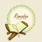 image of islamic religious holy book  - Open islamic holy book Quran Shareef with prayer beads and stylish text Ramadan Mubarak  - JPG