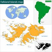 picture of falklands  - Map of the Falkland Islands drawn with high detail and accuracy - JPG