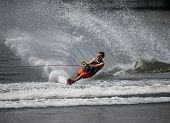 PUTRAJAYA, MALAYSIA - APRIL 26, 2014: Jarno de Lacy of New Zealand rides the waves at the Slalom Ope