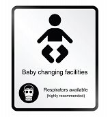 Comical baby changing facilities Information Sign