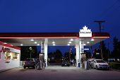 Port Coquitlam BC Canada - May 10, 2014 : One side of Petro Canada gas station on May 10, 2014. The