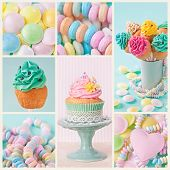 Collage of photos with pastel colored cupcakes and meringue
